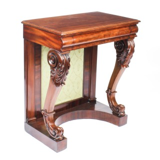Antique Victorian Flame Mahogany Console Hall Table C 1860 19th Century