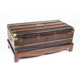 Antique French Steamer Trunk / Coffee Table by Au Depart 19th C