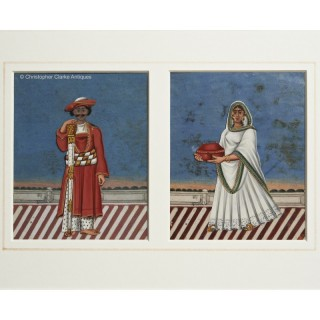 Mica Paintings - Pair of Servants with Card Background - HEIC School