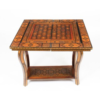 Antique Syrian Damascus Inlaid card, chess, backgammon, games table C1910