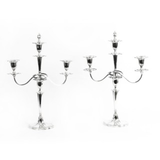 Antique Pair of Sterling Silver 3 Branch Candelabra Walker & Hall 1921 20th C