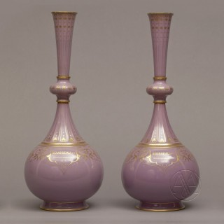 An Exceptionally Rare and Historically Important Pair of Sèvres Porcelain Presentation Vases - designed by Albert-Ernest Carrier-Belleuse