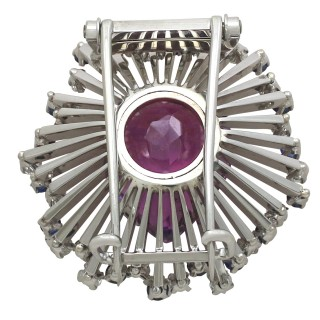 21.88 ct Amethyst and 1.80 ct Diamond, 1.44 ct Sapphire and 18 ct White Gold Brooch - Vintage Circa 1970