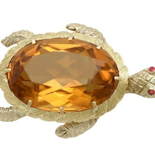 38.65 ct Citrine and Ruby, 18 ct Yellow Gold 'Turtle' Brooch - Vintage French Circa 1960