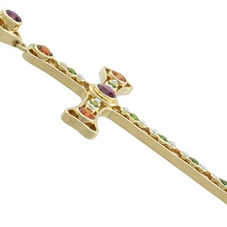 3.35 ct Amethyst and Peridot, Citrine and Seed Pearl, 18 ct Yellow Gold Cross Pendant by Boodles - Vintage 1994
