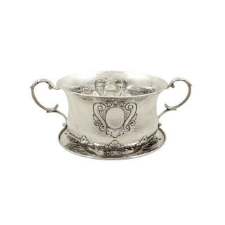 Antique Edwardian Sterling Silver Porringer with Lid 1902