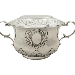 Antique Edwardian Sterling Silver Porringer with Lid 1902