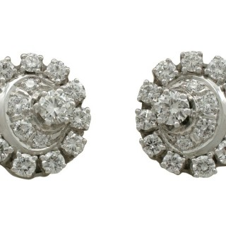 3.05 ct Diamond and 18 ct White Gold, Platinum Set Cluster Earrings - Vintage Circa 1980
