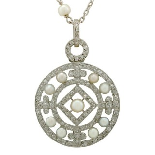 Seed Pearl and 1.11 ct Diamond, Platinum Pendant - Antique Circa 1920