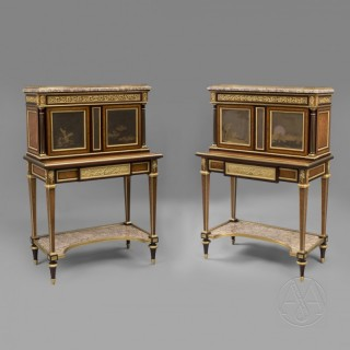 A Very Rare Pair of Louis XVI Style Exhibition Gilt-Bronze Mounted Bonheur Du Jours with Lacquer Panels - by Henry Dasson