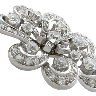 4.50 ct Diamond, 18 ct White Gold Brooch - Antique Edwardian