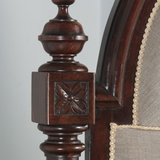 Antique English Victorian Gothic Flame Mahogany 4ft Small Double Half Tester Bed (Circa 1850)