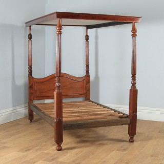 "Antique 4ft 6"" English Regency / William IV Mahogany Double Four Poster Bed (Circa 1830)"