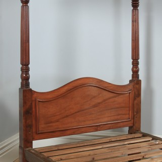 """Antique 4ft 6"""" English Regency / William IV Mahogany Double Four Poster Bed (Circa 1830)"""
