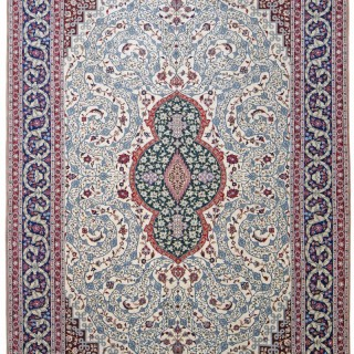 Isfahan carpet, silk foundation