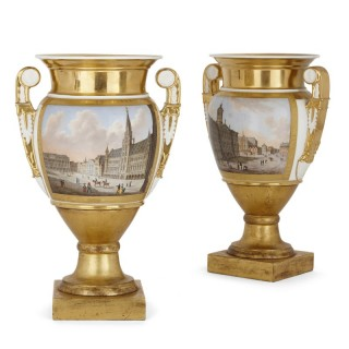 Pair of gilt Paris porcelain vases with painted urban scenes