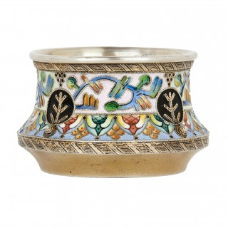 Cloisonné enamelled silver Russian Salt by 6th Artel