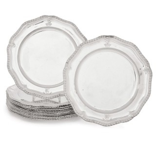 Twelve Georgian silver dinner plates by Wright