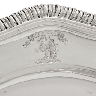 Twelve Georgian silver dinner plates by Wright