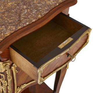 Pair of wood and gilt bronze bedside cabinets