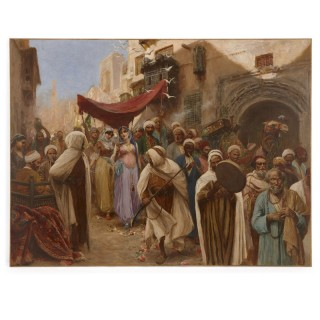 Painting of a wedding procession in Cairo by Fabbi