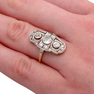 0.87ct Diamond and 14ct Yellow Gold Dress Ring - Art Deco - Antique Circa 1920