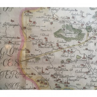 Hand coloured engraved map of Oxfordshire