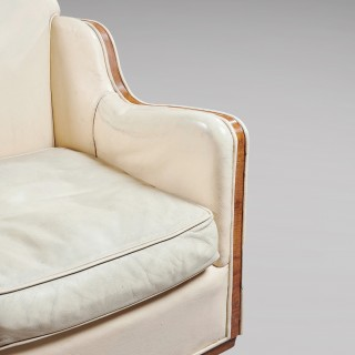 Rare Pair of Original Walnut Epstein Art Deco Leather Armchairs