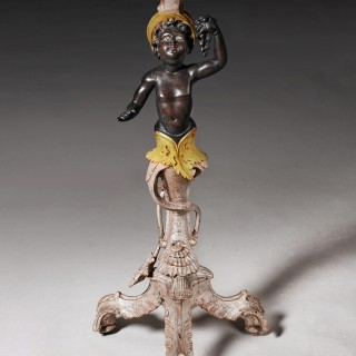 Antique Italian Painted Venetian Blackamoor Stand Circa 1900.