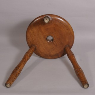 Antique 19th Century Sycamore and Ash Stool