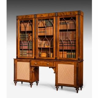 Regency Period Mahogany Secretaire Library Bookcase