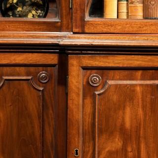 George III Period Mahogany Double Breakfront Bookcase