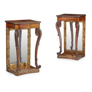 Pair of Mirror Back and Rosewood Side Tables