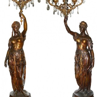 Large and Important pair of 19th Century Bronze candelabra, by Barbedienne.