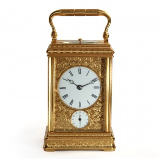 Engraved striking Alarm Carriage clock, Drocourt