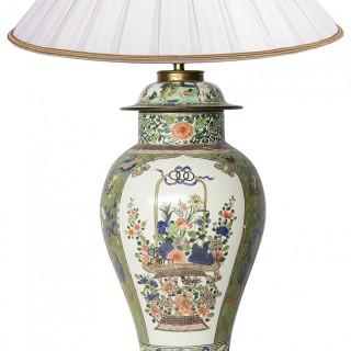 Early 19th Century Samson Famille Verte style lidded vase / lamp.