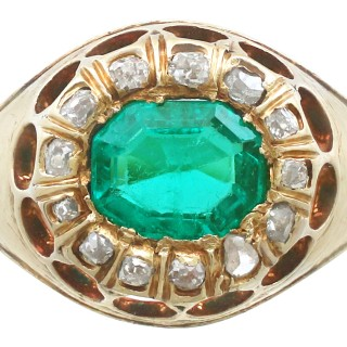1.22 ct Emerald and 0.26 ct Diamond, 14 ct Yellow Gold Dress Ring - Antique Circa 1900