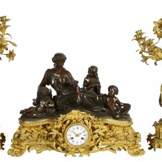 Large 19th Century Raingo Fres, Paris Clock set.
