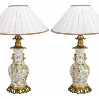 Pair 19th Century Rose Medallion ormolu mounted vases / lamps.