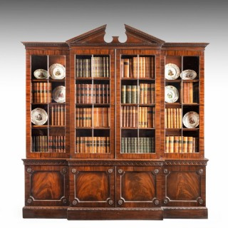 A Fine George III Period Mahogany Breakfront Bookcase