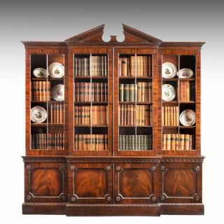 A Fine George III Period Mahogany Breakfront Bookcase