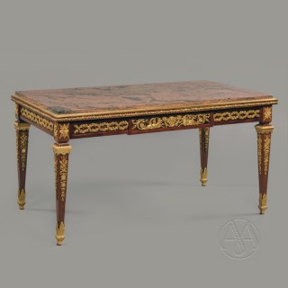 Louis XVI Style Gilt-Bronze Mounted Low Table With A Veined Rouge Marble Top