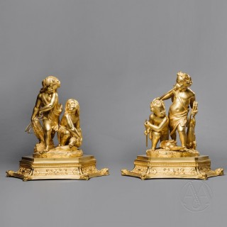 Exceptional Pair of Restoration Period Gilt-Bronze Figural Groups