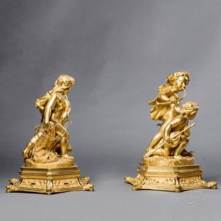 Exceptional Pair of Restoration Period Gilt-Bronze Figural Groups
