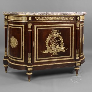 A Very Fine Louis XVI Style Gilt-Bronze Mounted Mahogany Side Cabinet With a Brèche Violette Marble Top
