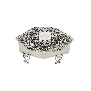 Antique Edwardian Sterling Silver Pierced Trinket Box 1904