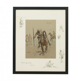 Snaffles WWI Military Print, Yi - Hai!, Indian Cavalry.