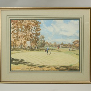 Original Golf Watercolour, Wentworth West Course, 18th Green By Arthur Weaver.