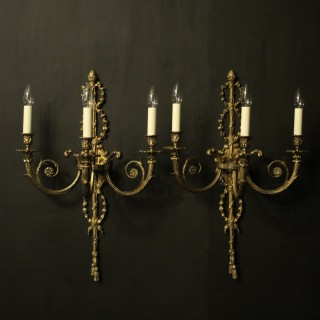French Triple Arm Gilded Antique Wall Lights