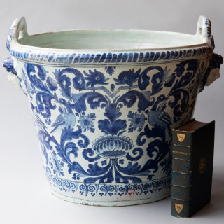 EXCEPTIONALLY LARGE NEVERS 18TH CENTURY FAÏENCE 'POT À ORANGER'